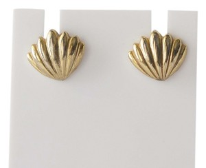 Simple Vintage Nautical Shell Gold Studded Earrings