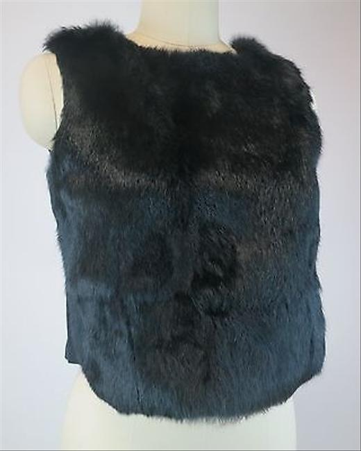 Fendi Fur Cropped Vest Wool Super Insanely Chic Leather Jeans BLACK Jacket
