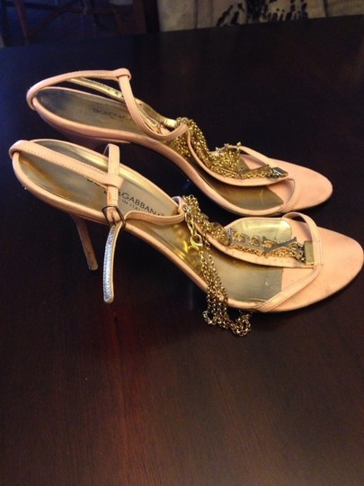Dolce&Gabbana Italy Leather High Heels Chain Pink Sandals