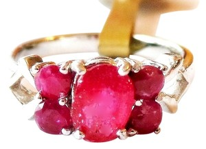 Other Lovely Dainty Natural Ruby 925 Sterling Silver 14k Ring 6.5