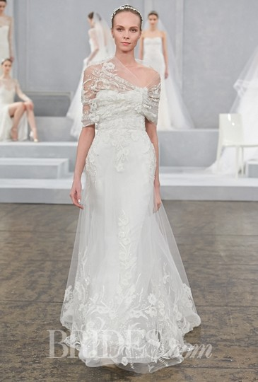 Monique Lhuillier Silk White Embroidered Applique ; Tulle Hemingway Formal Wedding Dress Size 8 (M)