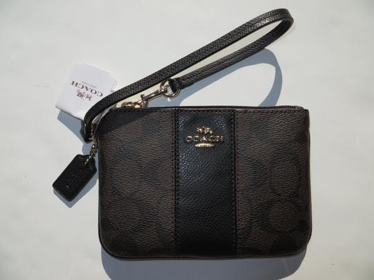 Coach COACH Wristlet Wallet Small coin Purse Bag Black New NWT SIGNATURE