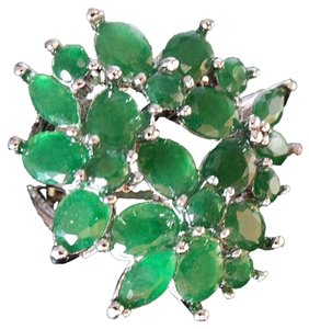 Other Natural Columbian Emerald Flower Cluster Cocktail 925 Sterling Silver 14k Ring 7