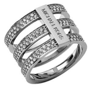 Michael Kors Michael Kors Triple Stack Ring Silver Pave Logo Size 8 $125 NEW WITH TAGS!