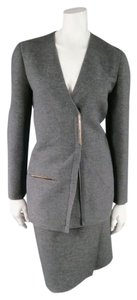 Lanvin LANVIN Size 8 Gray Heather Wool 2 PC Skirt Suit w/ Metal bar Detail FW2011