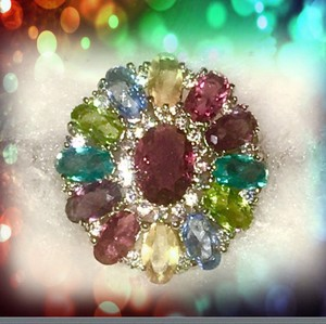 Other Beautiful Multi Gemstone, Amethyst,Topaz, Peridot, Citrine Sterling Silver Ring 6