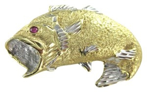 14KT KARAT YELLOW GOLD PENDANT 7.7 DWT FISH FISHING RUBY WIDE MOUTH MARINE AJ