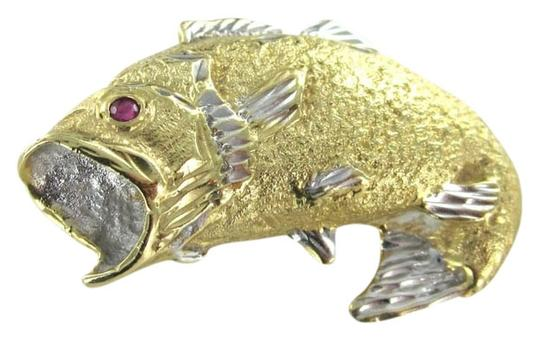 Other 14KT KARAT YELLOW GOLD PENDANT FISH FISHING RUBY WIDE MOUTH MARINE AJ