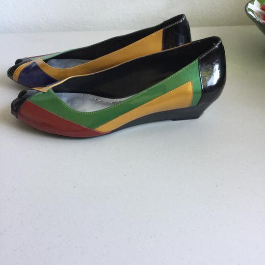 BCBGeneration Blue Gold Green Red Black Patent Leather Open Toe Wedges