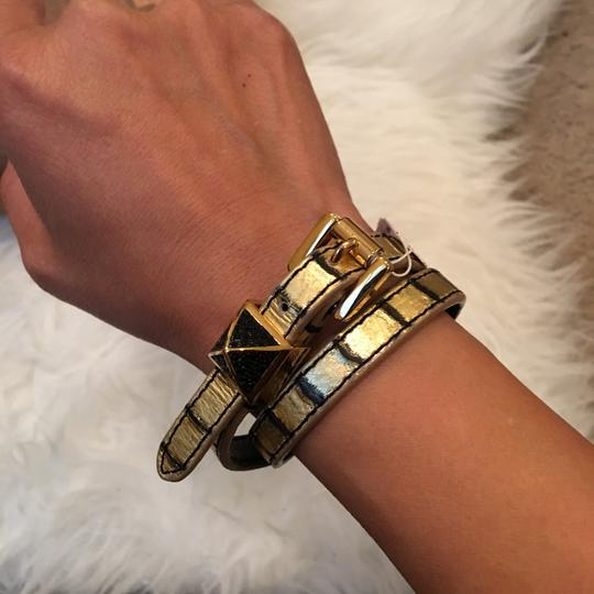 Michael Kors MICHAEL KORS Pyramid Python-Embossed Leather Double Wrap Bracelet