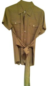 Theory Saks Fifth Avenue Short Sleeve Front Pockets Linen Button Down Shirt beige