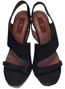 7 For All Mankind Woven Rafia Cool Seven Hot Summer Blac Wedges
