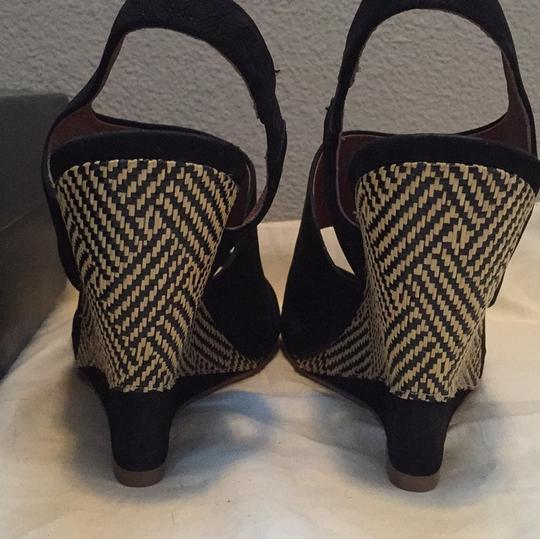 7 For All Mankind Woven Rafia Cool Seven Hot Summer F Blac Wedges