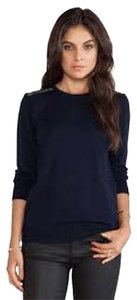 Equipment Lace Wool Navy Blue Sweater