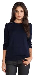 Equipment Lace Wool New Navy Blue Sweater