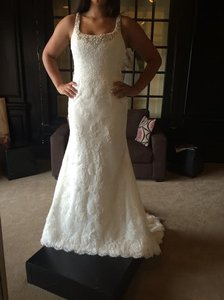 Mori Lee Ivory Satin- Lace 5273 Formal Wedding Dress Size 12 (L)