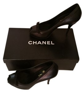 Chanel Stilletos Peeptoe 39.5 Black Nappa Leather Pumps
