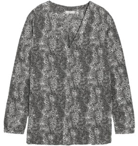 Joie Silk Animal Print Blouse Button Down Shirt Grey