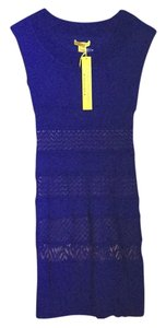 Catherine Malandrino Fitted Flattering Herve Leger Pleated Cap Sleeve Sleeveless Blue Sexy Dress