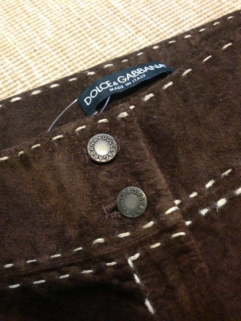 Dolce&Gabbana Suede Made In Italy Suede Leather Wide Leg Pants Brown