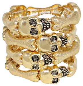 Gold Tone Stretchable Skullz and Bones Cuff Bracelet Halloween Party Jewelry