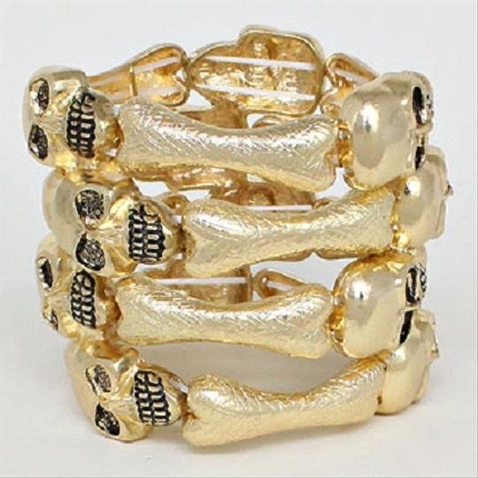 Other Gold Tone Stretchable Skullz and Bones Cuff Bracelet Halloween Party Jewelry
