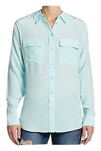 Equipment Signature Silk Blouse Button Down Shirt spearmint