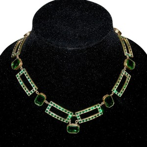 Vintage Art Deco Pave' Rhinestone Openback Crystal Bezel Necklace Emerald Green