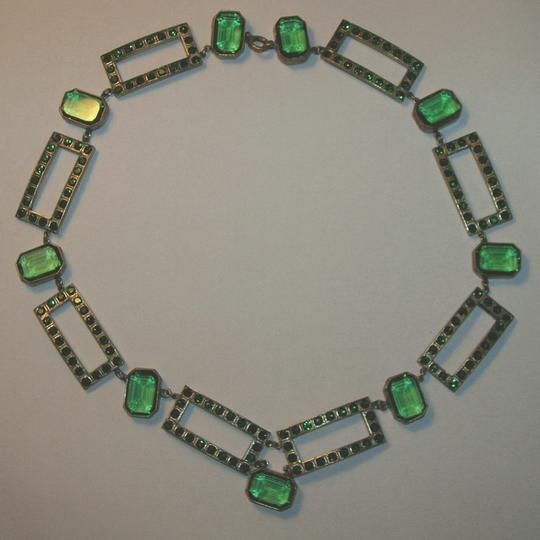 Other Vintage Art Deco Pave' Rhinestone Openback Crystal Bezel Necklace Emerald Green