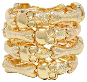 Gold Tone Stretchable Skulls and Bones Cuff Bracelet Halloween Party Jewelry