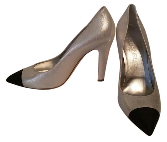 Chanel New Party New Years Eve Silver and Black Leather Pumps