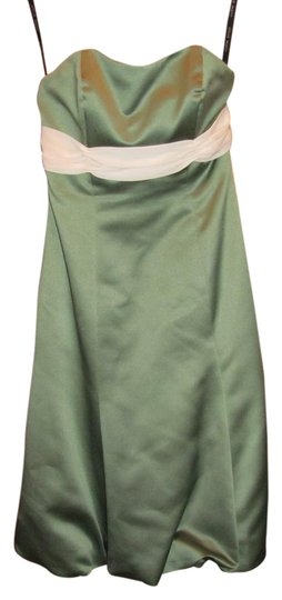 Alfred Angelo Sage Green Polyester 520714 Modern Dress Size Petite 2 (XS)