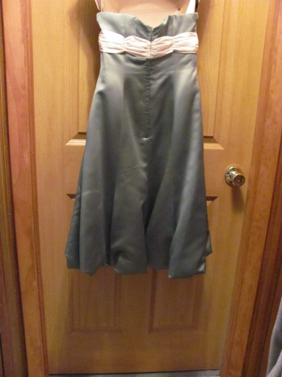 Alfred Angelo Sage Green Polyester 520714 Modern Bridesmaid/Mob Dress Size Petite 2 (XS)