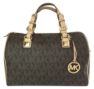Michael by Michael Kors Grayson Pvc Signature Large Satchel in Brown