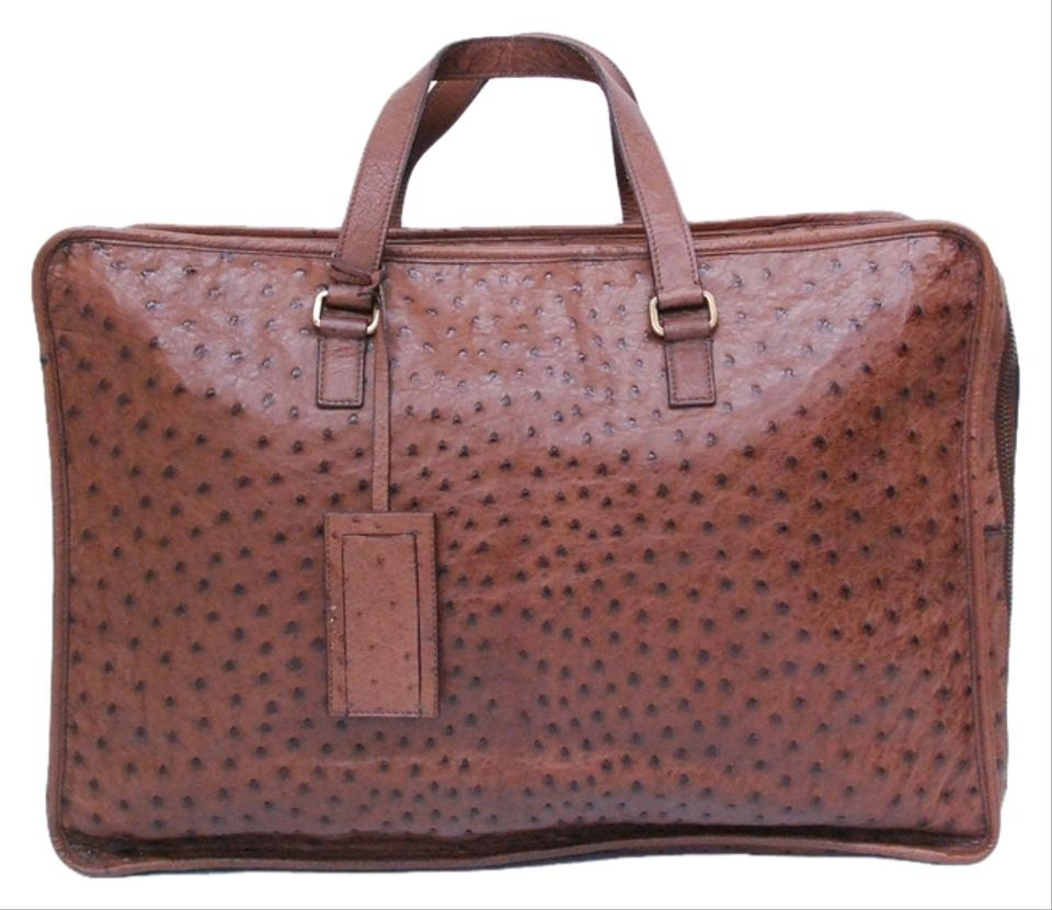 00b718216689d4 Prada Ostrich Skin Leather Briefcase Luggage Brown Travel Bag Image 0 ...