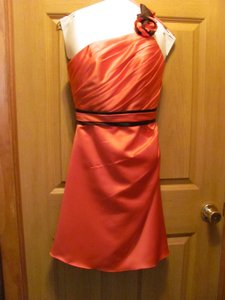 Allure Bridals Watermelon and Chocolate Brown 1277 Modern Bridesmaid/Mob Dress Size Petite 2 (XS)