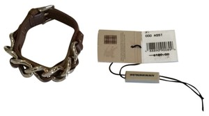 Burberry Burberry Brown Leather/gold Chain Bracelet