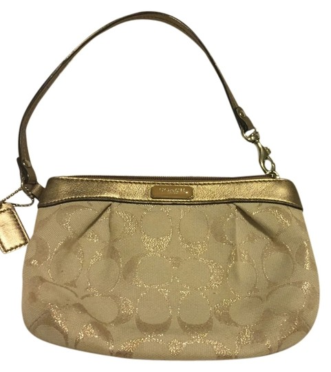 Coach Gold and nude Clutch