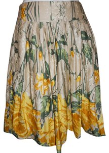 Ann Taylor LOFT Skirt beige, yellow & green print