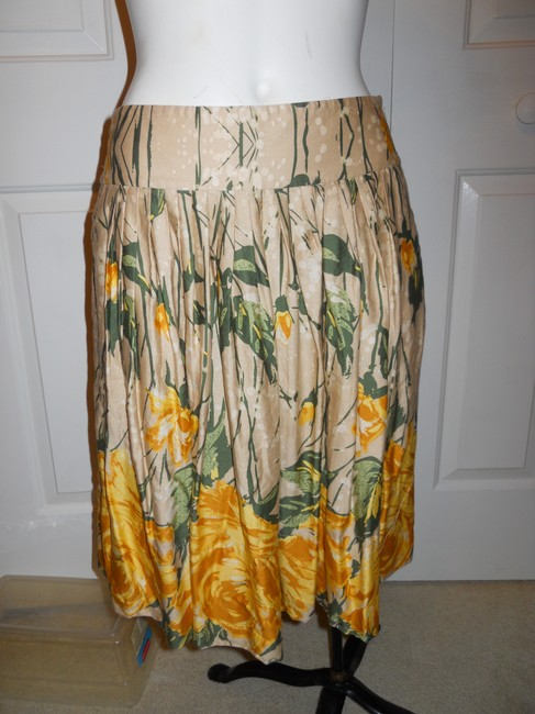 Ann Taylor LOFT Cotton Skirt beige, yellow & green print