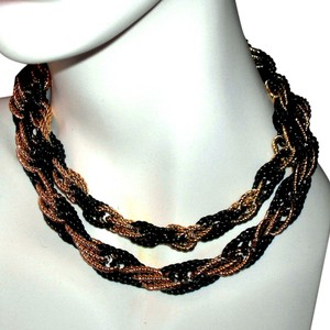 Crown Trifari Vintage 60s Crown Trifari Black & Gold Twisted Rope Chain Necklace