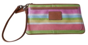 Coach Logo Leather Trim Canvas Pastel Wristlet in Multi Stripe