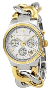 Michael Kors NEW! Michael Kors Silver Gold Two-Tone Runway Twist Chronograph Chain Link Watch