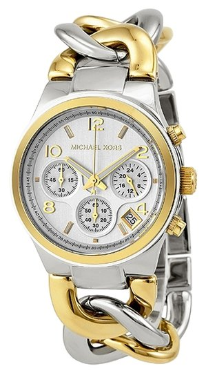 Preload https://img-static.tradesy.com/item/5208163/michael-kors-silver-new-gold-two-tone-runway-twist-chronograph-chain-link-watch-0-0-540-540.jpg