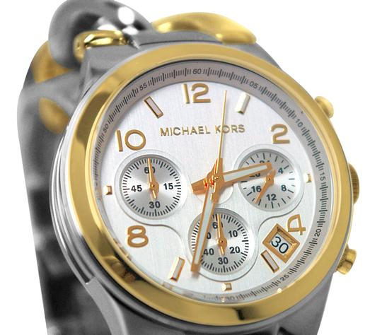 Michael Kors NEW! Michael Kors Silver Gold Two-Tone Runway Twist Chronograph Chain Link Watch Image 1