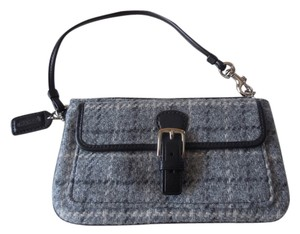 Coach Wool Logo Tweed Hangtag Wristlet in Grey Tweed