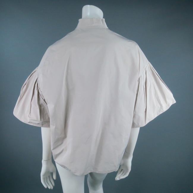 Lanvin Sleeves Boxy Conceptual Polyester Cropped Button Down Shirt Khaki