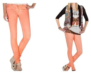 Miss Me Denim Stretch Peach Wax Coated Lightly Legging Jegging Designer Fashion Style Modern Cool Chic Women Ladies Misses Skinny Jeans-Coated