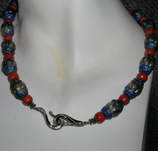Vintage Sterling Antique Vintage Tribal 19C Chinese Enameled Silver Coral Bead Necklace Reposse'
