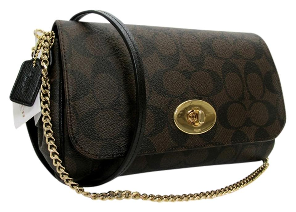 ddbd94dbe08c Coach Ruby Signature Mini Clutch Wristlet Brown Black Gold Pvc Over Canvas  Leather Brass Cross Body Bag 52% off retail